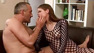 Teen in fishnet gets fucked rough by old man thumb