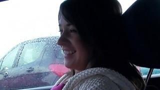 Brunette amateur babe bangs in car in public thumb