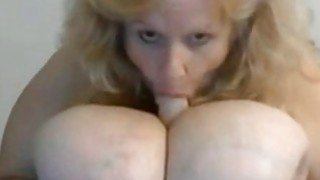 Amateur granny show us her huge natural tits on webcam thumb