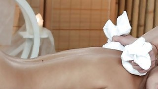 Blonde masseuse oils_and rubs pussy thumb