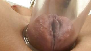 Pretty cowgirl enjoys making her cumhole moist thumb