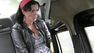 Brunette Milf anal fucks in British cab thumb