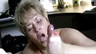 Milf Helps Lucky Guys Cock Spurt With Jizz thumb