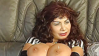 Busty amateur mom foursome with cum on tits thumb
