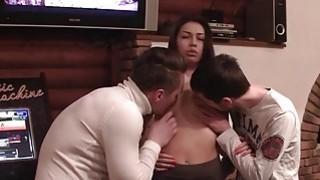 Sexy brunette slut fucks two guys in the shower thumb