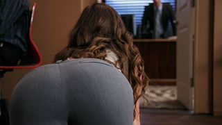 Bootylicious worker crawling to her boss office thumb