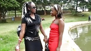 African lesbians Silver & Kyte fuck in the bathroom thumb