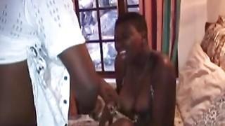 Fat Ebony slut loves to get fucked by two horny guys thumb