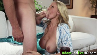 Busty cougar fucking a younger dude thumb