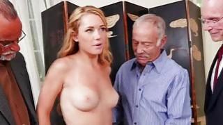 Raylin Ann swallows three old cocks on her knees thumb