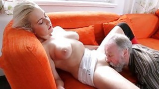 Young hottie gets tempted by a slutty old fucker thumb