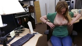 Pretty amateur blond babe gets fucked by pawn keeper thumb