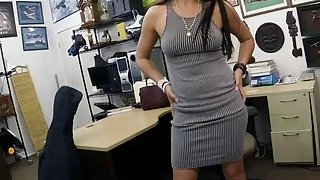 Lovely woman shows_off ass and rammed at the pawnshop thumb