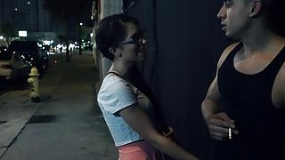 Nerdy teen Joseline Kelly gets kidnapped and forced to deepthroat hard cock thumb