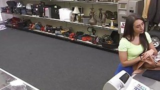 Desperate teen Lilly Hall sucks and rides cock in the floor inside the pawnshop thumb