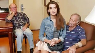Naughty Old Guys Talk Naive_College Girl Into Intense Sex On Bed thumb