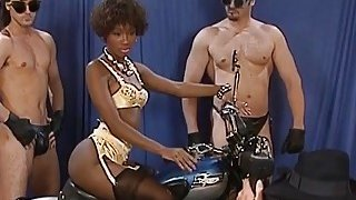 A very hot ebony babe gets all holes fucked by white men at a photo session thumb