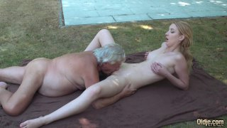 Old yogin seduced by young blonde student thumb
