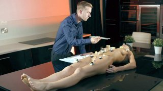 Tina Kay gets the sexy serving of sushi on her naked frame thumb