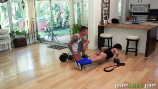 Cute Asian babe with big tits blows her sport instructor thumb