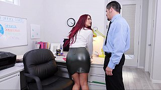 Redhead gets her pussy licked at the office thumb