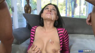 Hot babe Eva Angelina makes it threesome with a load on her face thumb