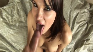Fantastic girl Angel Rivas gives amazing blowjob and plays with cum thumb