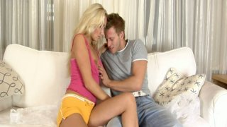 Blonde barbie girl gives great blowjob and gets naked thumb