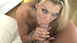 Busty blonde Daniella Aire gets her wet pussy drilled thumb