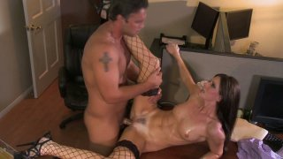 Trashy brunette slut India Summer gets hammered in a missionary position thumb