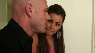 Beautiful bitch Allie Haze gives a head to a bald guy thumb
