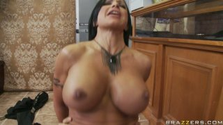 Full-bosomed Jewels Jade gives a head to Keiran Lee and gets poked hard from behind thumb