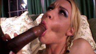 Blond head with ugly makeup Olivia Saint sucks a tasty black cock thumb