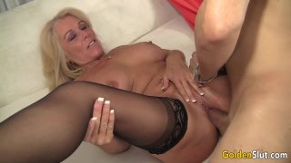 Older Blonde Slut Crystal Taylor Spreads Her Legs for Cock thumb