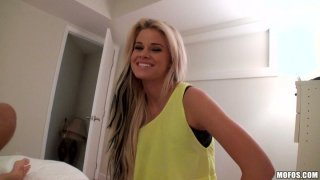 Outaregously beautiful blonde Jessa Rhodes gives amazing blowjob on POV vid thumb
