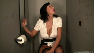 Hungry for cock Alia_Janine sucks the dick in a public toilet thumb