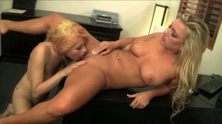 Two blondies Raven Rockette & Cameron_Dee lick each other's pussies thumb