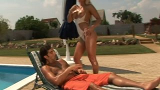 Fantastic blonde babe Krystal_blows dick and rides it by the pool thumb