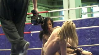 Jessica Moore wrestles with her girlfriend on the ring thumb