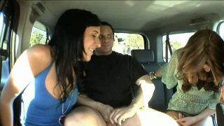 Desperate sluts Ashli Orion, Heather Hurley and Chelsie Rae suck a dick of a stranger in a truck thumb