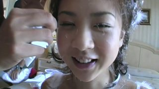 Japanese petite teen Aki Hoshino shopping and showing off in the underground parking lot thumb