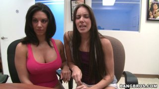 Two beautiful chicks Bella Reese and Bailey Bam assist each other to pass the casting thumb