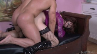 Rubbish shemale skank Brittany St Jordan blows a solid prick and gets banged doggy style thumb