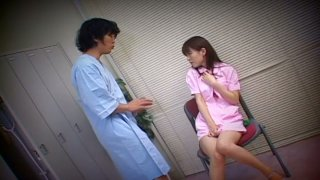 Sultry Japanese nurse Ai Himeno masturbates in the changing room sitting in front of the patient thumb