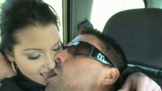Hussy girl Rachel Evans gives blowjob in the car thumb