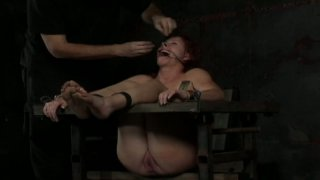 Crying bitch in hood Catherine de Sade goes under BDSM treatment thumb
