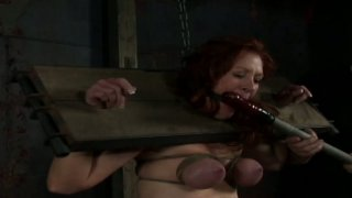 Dirty hoe in stocks Catherine de Sade gets her boobs tied up thumb