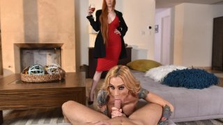 Redhead MILF Lauren teams up with Blondie Sarah! POV thumb
