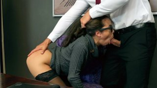 Lana Mars gets her face fucked by Jmac in the office thumb