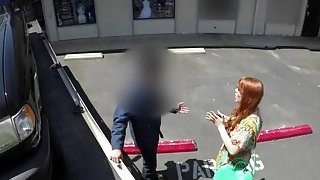Beautiful ginger babe giving a hot POV blowjob to a tow truck driver thumb